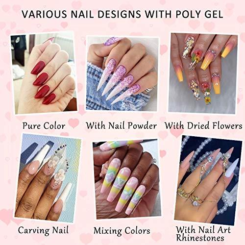 3 Colors Poly Gel Nail Kit, Clear Nude Quick Nail Extension Gel Kit Nail Enhancement Builder Gel Acrylic Nail Art Kit (15ml/pcs)