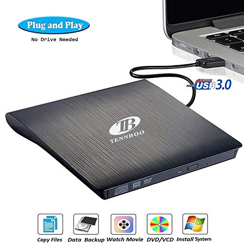 USB 3.0 External DVD CD Drive Burner,TENNBOO Portable CD/DVD-RW Burner Writer Player for Laptop Notebook PC Desktop Computer,High Speed Data Transfer Support Windows XP/Vista/7/8/2000,Mac OS (Black) (Make Cd Burn)