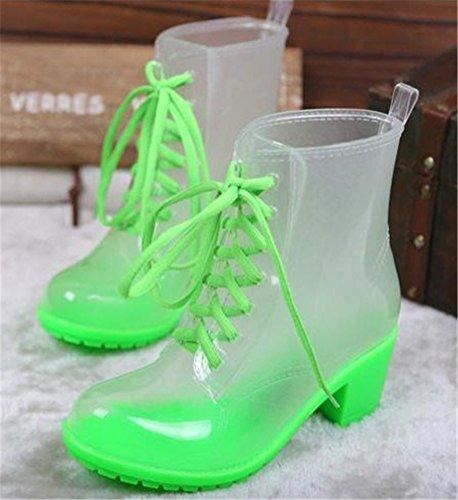 Mid Waterproof Heel High Women Top ACE Rain Casual Antiskid Boots Footwear Green Rain SHOCK q6xRURvA
