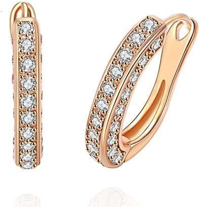 Women Hoop Stud Earrings AAA Cubic Zirconia Rose Plated Engagement Wedding Party Jewelry Earring