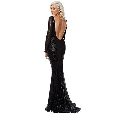b7bde47f4ef City Goddess London Black DR1021 Open Back Sequin Fishtail Dress UK 8   Amazon.co.uk  Clothing