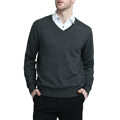 Kallspin Wool V Neck Pullover Sweater Black (L, Grey) ()