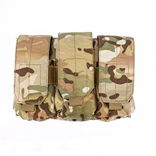 OUTRY M4 M16 AR-15 Type Magazine Pouch Mag Holder - Triple/Double/Single Airsoft MOLLE Mag Pouch - Velcro Closed Flap Version - Triple - Multicam/CP