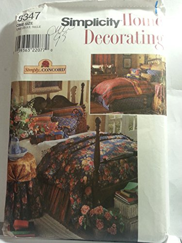 """SIMPLICITY HOME DECORATING PATTERN 8347 """"SIMPLY CONCORD"""" BEDROOM DUVET, BED SKIRT, PILLOW SHAMS, THROW PILLOWS, TABLECLOTH & TABLETOPPER (1998)"""