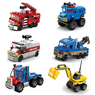 FUN LITTLE TOYS 6 in 1 Robot Building Blocks Set, Construction Building Toys for Boys and Girls, Robot STEM Toys