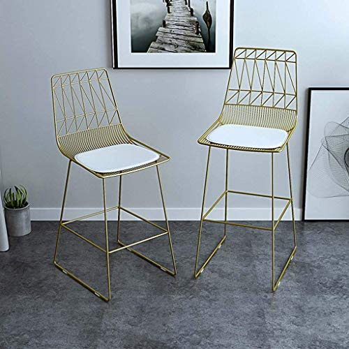 GJJSZ Chaise de Bar en métal,Coussin en Cuir d'unité Centrale,Chaise de Salle à Manger Respirante et Confortable,décoration de la Maison,75 cm