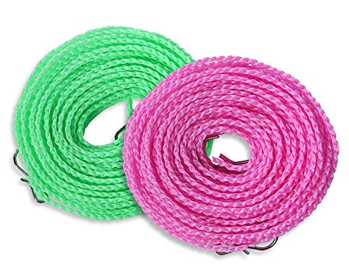 Clothesline Shower Baby (Pack of 2 Portable Windproof Clotheslines for Outdoor and Indoor Drying, Home, Travel and More - Green, Pink and Blue)
