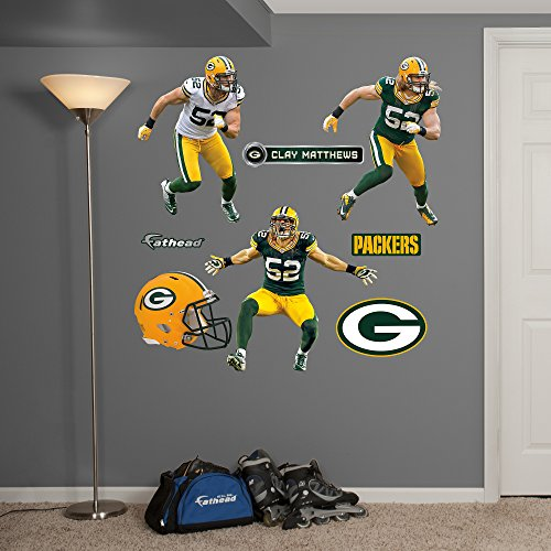 NFL Green Bay Packers Clay Matthews Hero Pack Real Big Wall Decals - Fathead Green Bay Packers Helmet