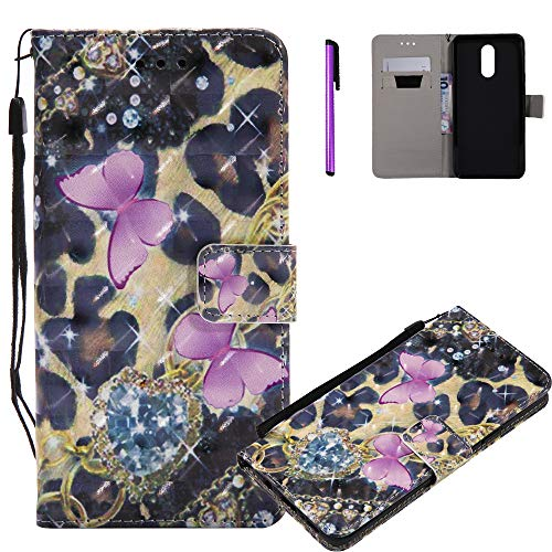 HMTECHUS LG Q8 2018 case 3D Printing Shell with Magnetic Clasp Shockproof Flip Stand Card Holder 360 Body Protection PU Premium Leather Thin Cover for LG Stylo 4 / LG Q Stylus -Diamond Butterfly KT