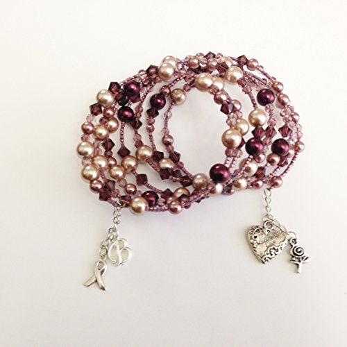 - Pink Breast Cancer Awareness Charm Bracelet, Personalized Multi Strand Hope Bracelet, Wrap Boho Bracelet with pearls, beads and charms OOAK