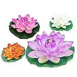 2-Pack-Artificial-Floating-Foam-Lotus-Flower-Pond-Decor-Water30cm12inch-Orange