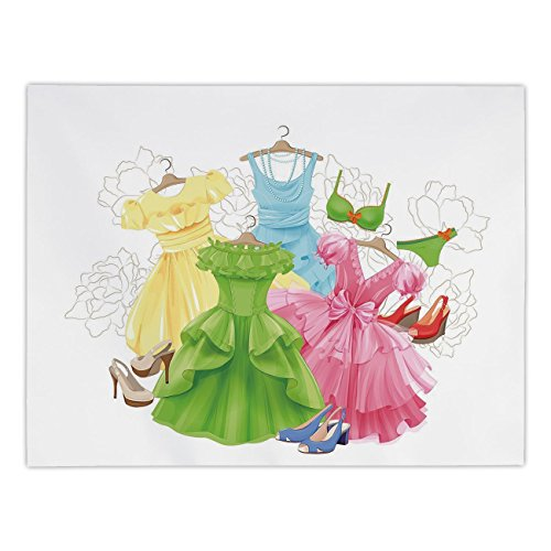 iPrint Rectangular Satin Tablecloth,Heels and Dresses,Princess Outfits Bikini