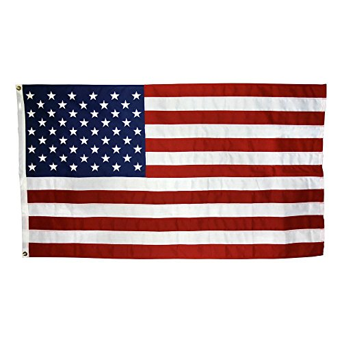 (US Flag 5 x 8 ft: 100% American Made - 2 Ply Polyester - Embroidered Stars and Sewn Stripes)