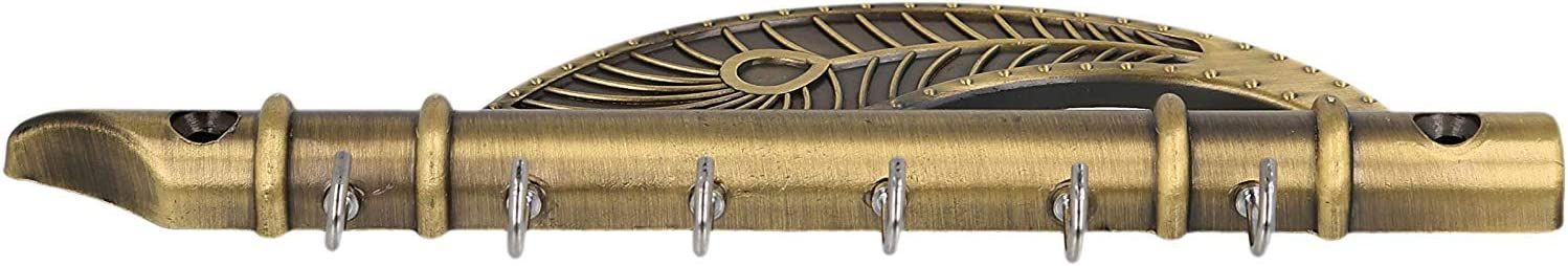 ForeverWithYou Lord Krishnas Flute and Peacock Quills Key Stand 18.5 X 6 cm, Zinc