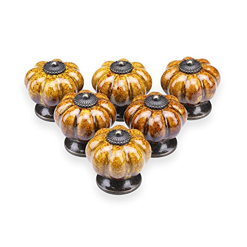 YDO Ceramic Glazed Pumpkin Knobs Classy Vintage Cabinet Door Pull Handle 6pcs (Yellow) by YDO
