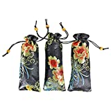 Rolling DIY 8'' Silk Brocade Pouches - 3 PC Set Quality Embossed Chinese Bead Drawstring Eyeglass Case Gift Bags