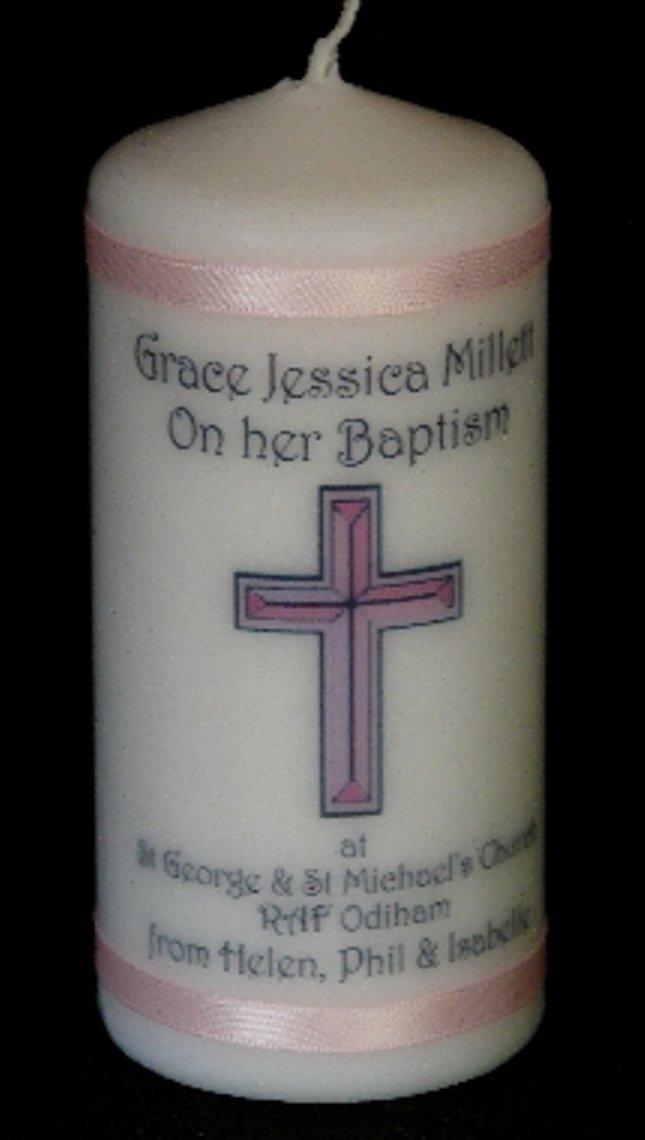 Bougie personnalisée bébé fille baptême personnalisé avec coffret cadeau Cellini