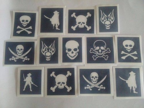 30 x Pirate & skull stencils for glitter tattoos / airbrush / face painting by Dazzle Glitter Tattoos (Image #1)