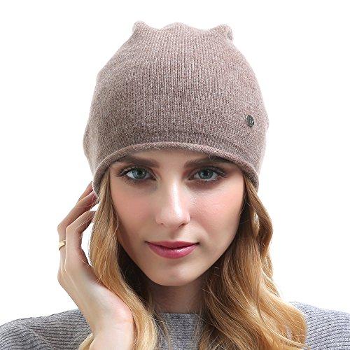 Vemolla Women's Solid Ski Skullies Edge Curling Beanie Hat Soft Cashmere Knitting Cap Khaki - Edge Skis