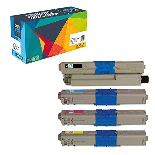 Do it Wiser Compatible Toner for Oki Okidata C330 C310dn C310n C330dn C331dn C510dn C511dn C530dn C531dn MC351dn MC361 MC362w MC561 MC562w - 4 Pack -