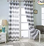 MEIYIMI 2 Packs Rugby Stripes Curtains Grommet Sheer Window Curtain Panel Window Treatment Draperies Grey W52×L84