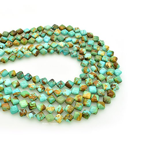Bluejoy Genuine Natural American Turquoise Diamond-Shape Bead 16 inch Strand for Jewelry Making (6x6mm)