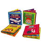 Quner Baby's First Non-Toxic Soft Cloth Book Baby Cloth Book Set Kids Early Learning Educational Toys 4.3*4.3 Inch-Pack of 4
