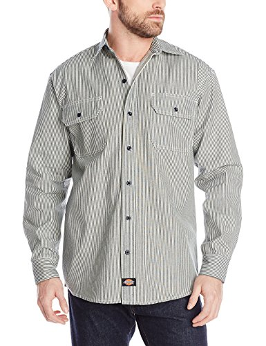Stripe Button Front Shirt (Dickies Men's Long Sleeve Button-Front Logger Shirt, Hickory Stripe, 2X)