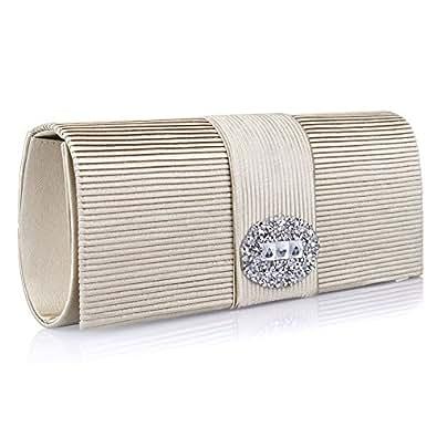 Ladies Designer Pleated Satin Wedding Evening Bags Formal Clutch Purse Crystal Evening Handbag for Women (Beige)