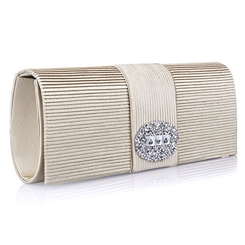 Ladies' Designer Pleated Satin Evening Bags for Women Formal Clutch Purse Stone Evening Handbag ()