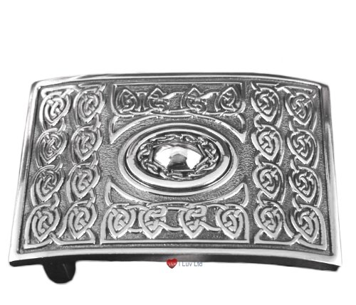 Kilt Buckle Cast Pewter Celtic Rope Dome Boss
