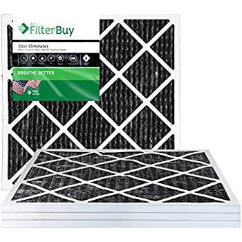 FilterBuy Allergen Odor Eliminator 24x24x1 MERV 8 Pleated AC Furnace Air Filter with Activated Carbon - Pack of 4-24x24x1