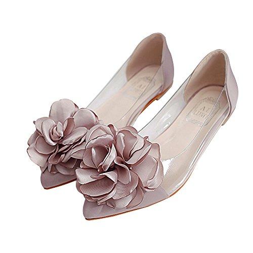 Bininbox Kvinna Tillfälliga Blommor Lucency Sömmar Läder Spetsiga Lägenheter Rosa