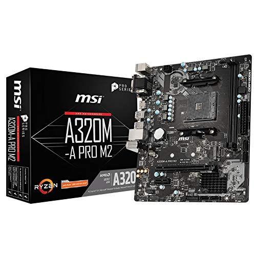 MSI A320M-A PRO M2 Moederbord 'mATX, AM4, DDR4, LAN, USB 3.2 Gen1, M.2, VGA, DVI-D, HDMI, 16M BIOS ROM, AMD RYZEN 1e, 2e…