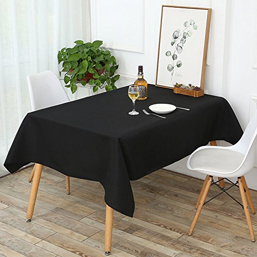 Wimaha Solid Black Rectangular Tablecloth for Rectangle Table, Fabric Table Linen Dry Fast Spill-proof, for Home Kitchen Holiday Party Event as Table Decoration, 52x70In Polyester Table Cover