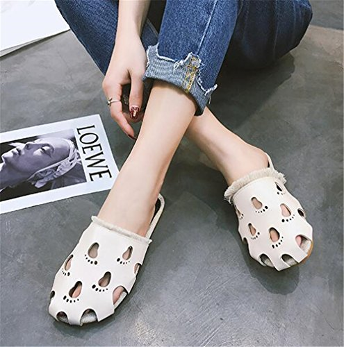 Comfortable Pointy Heel Beige pit4tk Mules Newest Shoes Leather Slippers Quality Low High Sexy a1wE8q