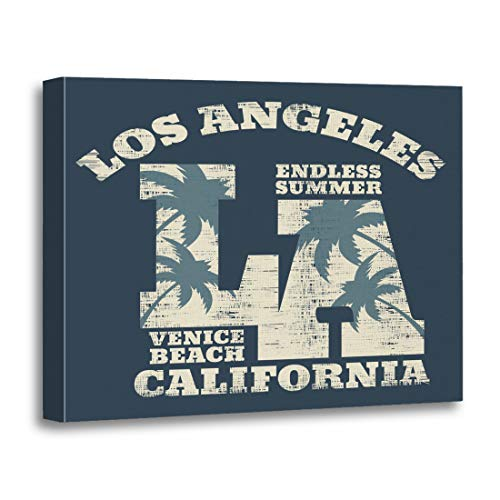 Tinmun Painting Canvas Artwork Wooden Frame Surf and Surfing in California Los Angeles Venice 16x20 inches Decorative Home Wall Art]()