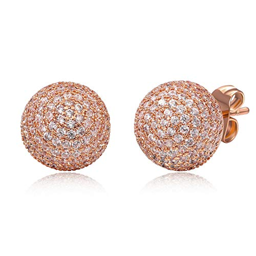 Zhang Trading 18K Gold Plated Half Ball Shape Full Micro-Pave CZ Stud Earrings (Rose Gold)
