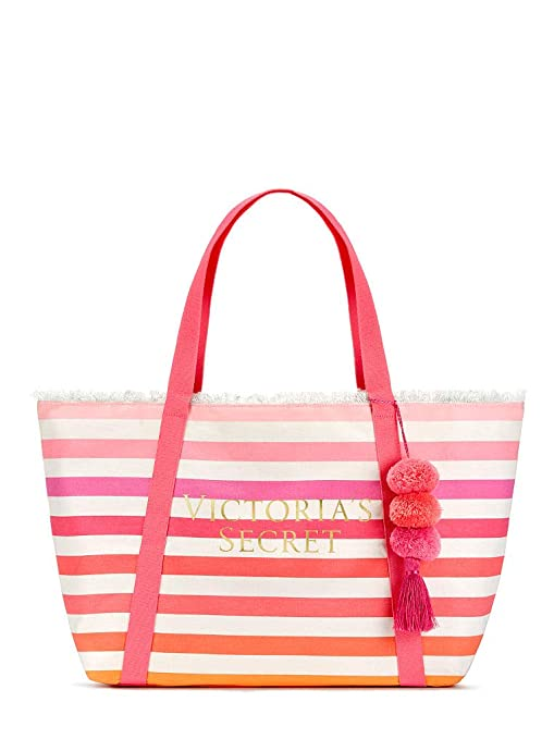 factory authentic 88e7d 585ed Victoria's Secret 2018 Large Canvas Striped Tote Bag with Pom Pom Pink,  Beach, Sherbet Color