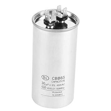 Hilitand Condensador CBB65A-1, 30uF CA 450V Condensador de Motor cilíndrico para Aire Acondicionado