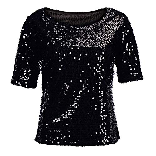Ularma Fashion Women Sequins Sparkle Coctail Party Casual Top Blouse Crop Tops Shirt Black