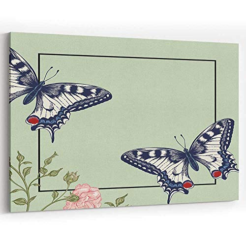 (Background with Two Large Butterflies and a Pink Rose Bush Canvas Prints Wall Art,Home Decor)