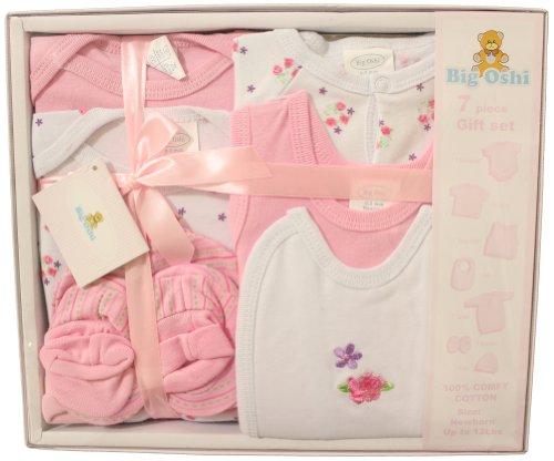 Big Oshi Baby Essentials 7 Piece Newborn Layette Gift Set for Baby Shower - Pink