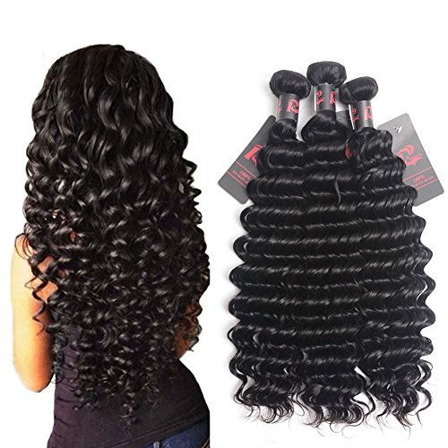 8A Virgin Brazilian Hair Deep Wave 1 Bundles 10 inch Unprocessed Brazilian Curly Virgin Hair Remy Hair Weave Human Hair Extensions 100g Sample for Test (1 Bundle Sample 10