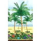Amscan Sun-Sational Summer Luau Palm Trees Scene Setter Room Roll Decoration (1 Piece), Multi Color, 1.2m x 15.2m