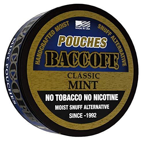BaccOff, Classic Mint Pouches, Premium Tobacco Free, Nicotine Free Snuff Alternative (1 Can)