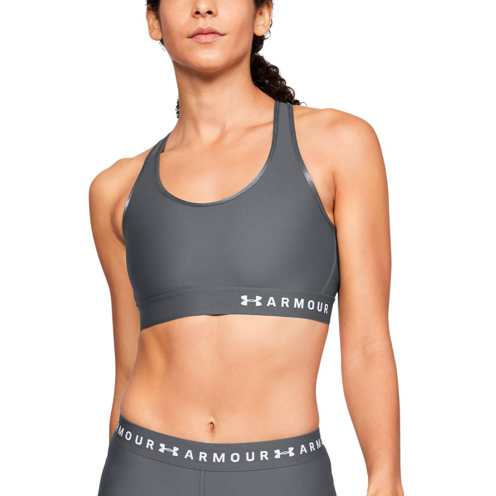 Under Armour womens Armour Mid Keyhole Sports Bra, Pitch Gray (012)/Mod Gray, Medium by Under Armour