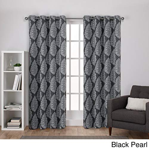 NIL 2pc Girls Black Pearl Medallion Window Curtain 96 Pair Panel Set, Polyester Woven Grommet, Luxury Stunning, Dark Grey Color Mandala Medallion Pattern Ornate Jeweled Damask Window Treatment