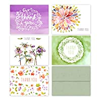 Floral Watercolor Thank You Cards (10 Premium Thank You Cards with Sage Green Envelopes) - 5 Unique Designs - Assorted All-Occasion Note Card Bulk Set - Made in the USA By Palmer Street Press