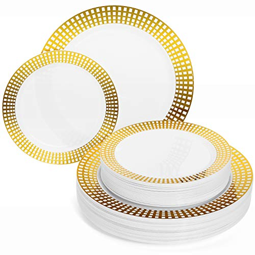 Perfect Settings Princess Gold Series Plastic Plates - Disposable Dinnerware Set Heavy Duty Combo Party Plates | Gold Square Rimmed Pattern | 30 x 10.25